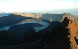 Landscape Lake of Mount Rinjani from the top